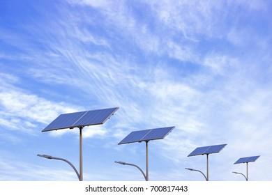 Streetlights using solar power