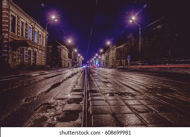 street-night the tram rails