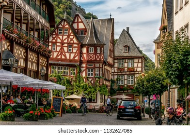 Streets of Bacahrach, Germany. Traditional Germany style architecture along the Rhine River. Bacharach Germany, taken on August 13th 2015.