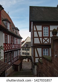 In the streets of the beautiful old town of Miltenberg, Lower Franconia, Bavaria, Germany