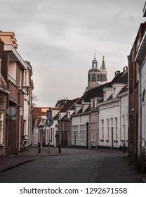 Streets in Bergen op Zoom, the Netherlands, at dusk