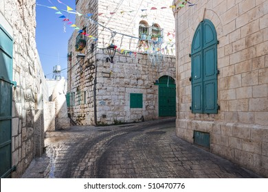 Streets of Bethlehem, West Bank, in sunny day