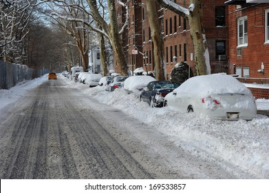 Streets in Brooklyn is seen after the seasons first snow storm in NYC