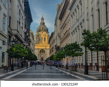 streets of Budapest. A view of Szent Istvan church at sunset