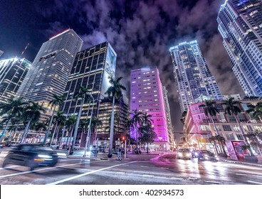 Streets and Buildings of Downtown Miami at night.