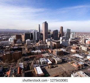 Streets and buildings in the downtown urban core of Denver Colorado