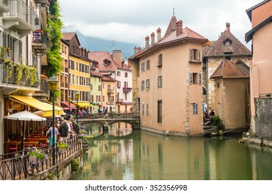 Streets, canal and Thiou river in Annecy, France