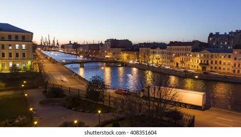 Streets and canals of the historic city of St. Petersburg at night