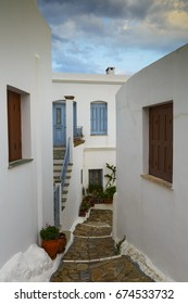 Streets of Chora village on Skyros island in Greece early in the morning.