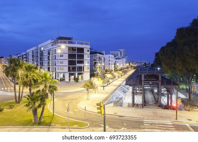 Streets in the city of Huelva illuminated at night. Andalusia, Spain