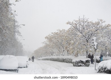 Streets completely covered by the snow fallen by the storm Filomena in the capital of Spain, Madrid. Completely white cars and trees. Horizontal photography.