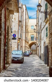 streets and courtyards in the old center of Bari near the sea boulevard on a weekday, region Puglia, Italy
