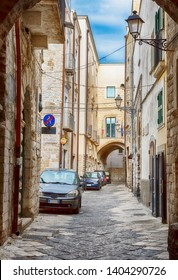streets and courtyards in the old center of Bari on a weekday, region Puglia, Italy