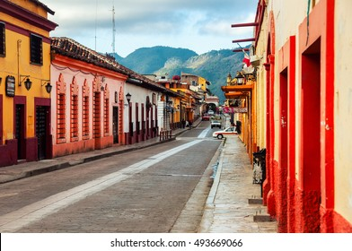 Streets in the cultural capital of Chiapas - San Cristobal de las Casas, Mexico. The city center maintains its Spanish colonial layout and much of its architecture