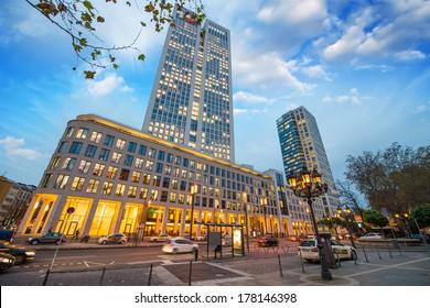 Streets of Frankfurt at night.