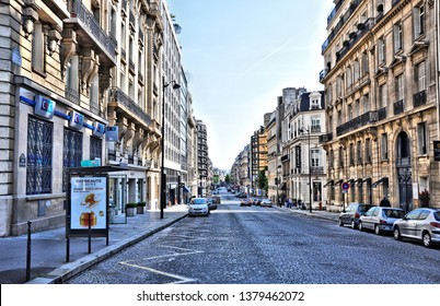 Streets in historic center of Paris, France. The city's historic center - UNESCO World Heritage Site and major tourist destination in Europe. Photo taken 2014-05-04.