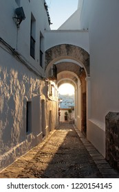 streets of historic village Vejer during sunset, Andalusia