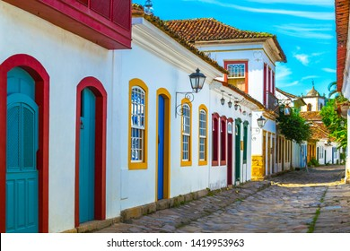 Streets and houses of historical center in Paraty, Rio de Janeiro, Brazil. Sunny day in Paraty.  Paraty is colonil city listed Unesco