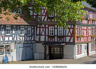 Streets of Idstein town in the Taunus area with half timbered houses in Germany