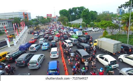 streets jammed in A Yani Street Surabaya, East Java, Indonesia on November 2, 2016
