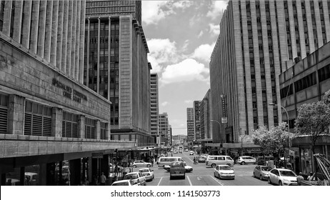Streets of Johannesburg. Megalopolis. Cities of South Africa. Black White Photography. City business center. The biggest city of South Africa. Johannesburg, South Africa - December 21, 2013
