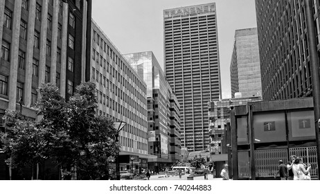 Streets of Johannesburg. Megalopolis. Skyscrapers. Black White Photography. City business district. Johannesburg, South Africa - December 21, 2013