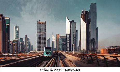 The streets of a large modern city. Skyscrapers and above ground subway Of Dubai
