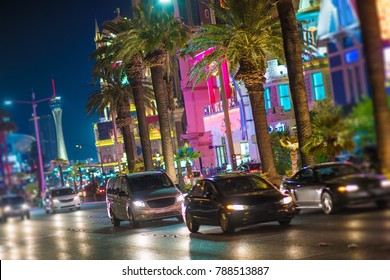 Streets of Las Vegas Nevada. Night Time on the Vegas Strip. City Traffic.