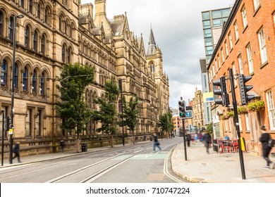 Streets of Manchester. The usual busy day in the city center  Uk, England. Britain