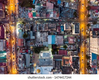 Streets of Maputo from above creating nice pattern, capital city of Mozambique, Africa
