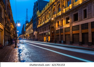 The streets of Mexico City light up at night.