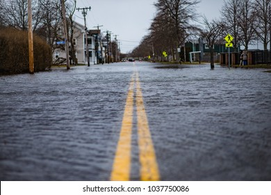 The streets of Newport Rhode Island after a Nor'Easter hit the area with heavy winds and storm surges from the Atlantic Ocean. The roads were closed with flooding for days. Climate Change concept.