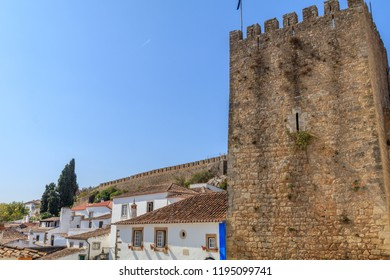 Streets of Obidos. Portugal. Obidos - famous tourist destination in Portugal for its distinguished architecture and history..