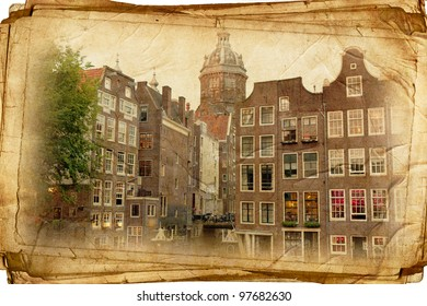 streets of Old Amsterdam made in retro style