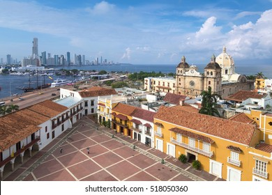 The streets of the old city in Cartagena de Indias, Colombia