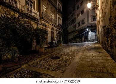 The streets of the old city. Night Vigo. Galicia Spain
