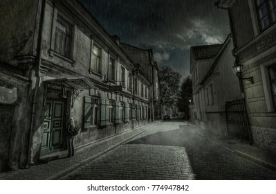 Streets of the old city. Suddenly clouds came running, and it began to rain. The girl before the closed door waits, while friends will open it.