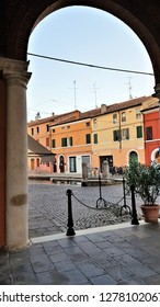Streets of old fishing town Comaccio, Italy: view from Wheat Loggia