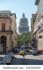 Streets of the old Havana road to the Capitol. One of the most traditional places visited by tourists in Cuba. Havana Cuba. January 2, 2019