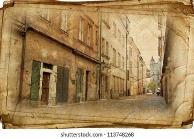 streets of Old Prague made in artistic vintage style