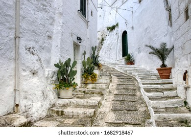Streets of the old town of Ostuni, the white city. Puglia, Italy