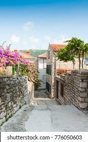 streets old town Rab on of Rab island, Croatia