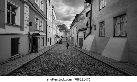Streets of the old town of Tallinn. Estonia. Black and white