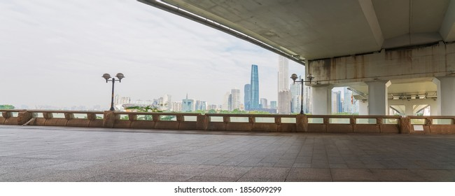 Streets on both sides of the Pearl River and skyline of modern urban buildings in Guangzhou City, Guangdong Province, China