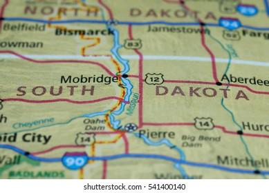 Streets on the map around South Dakota