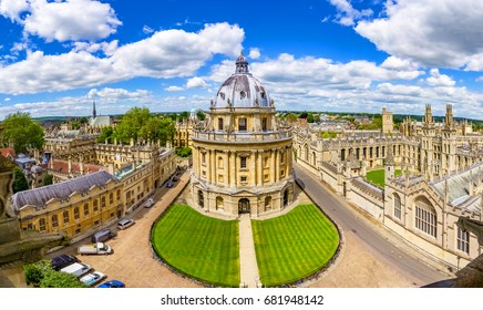 Streets of Oxford - landmark, England - overview from a church's tower with the Bodleian Libraryand All Souls College,Oxfordshire, England, UK, United Kingdom, Europe