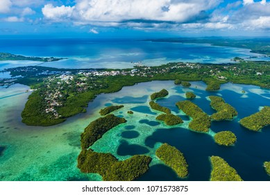 Streets of Palau Koror and coves of coral reefs