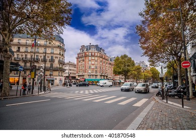 Streets of Paris, France. Blue sky and traffic. Shot in october daylight.