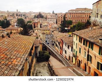 The streets of Perugia. Perugia, Umbria, Italy.