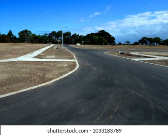 Streets ready in new estate development, site of growth area no houses stage in new under construction residential suburb land